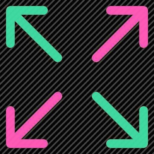 arrows, fullscreen, ⦁ expand, ⦁ maximizeicon icon