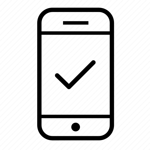 mobile, mobile approve, mobile check mark, mobile phone, mobile telephone, phone, smartphone icon