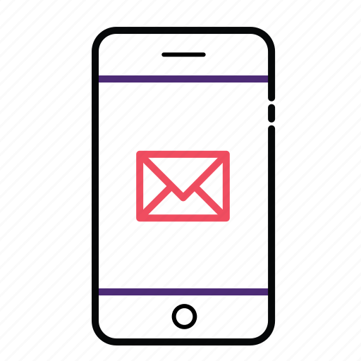 email, envelope, message, mobile, mobile with envol icon