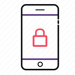 cell, lock, mobile, phone, secure mobile icon