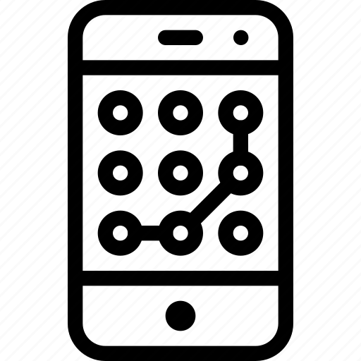 line-icon, lock, mobile, password, phone, screen, secure icon