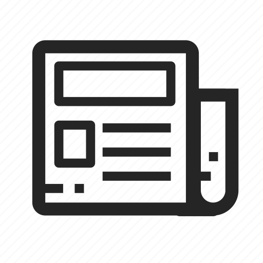 app, e paper, line, mobile, news, newspaper, phone icon