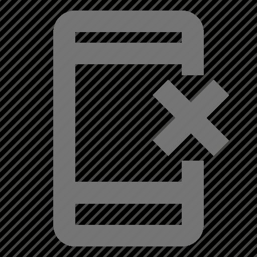 call, communication, contact, delete, material, mobile, remove icon