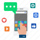 communication, media, mobile, network, phone, share, social icon