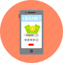 bank, business, cash, currency, financial, mobile app, payment icon