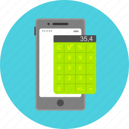 accounting, application, calculator, mathematics, mob device, mobile app, smatphone icon