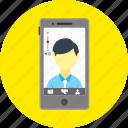 call, camera, communication, mobile, skype app, smartphone, video call icon