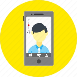 call, camera, communication, mobile, skype app, smartphone, video call icon