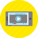 mobile app, movie, multimedia, play, smartphone, video, video player icon