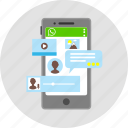 application, applications, chat, communication, internet, mobile, whats app icon