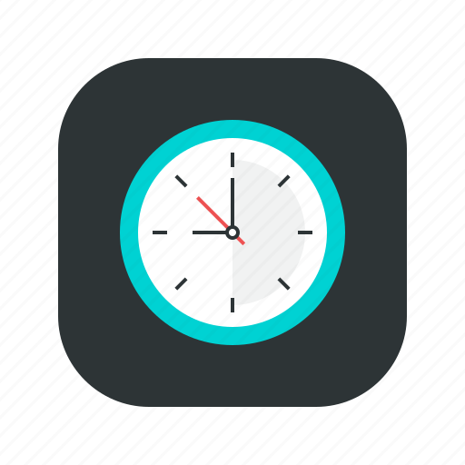 analog, clock, hour, mobile application, time icon