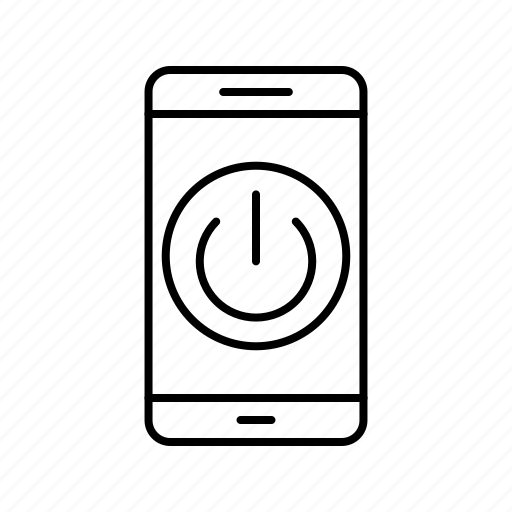 app, application, mobile, phone, power off icon