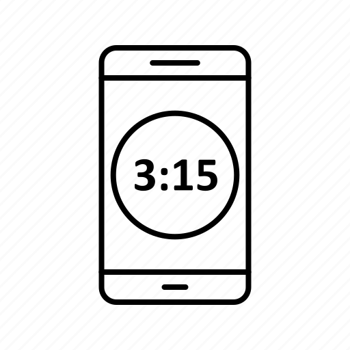 app, application, display, mobile, phone, time icon