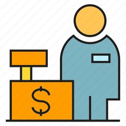 buy, cashier, counter service, money, payment, shopping, store icon