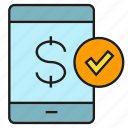 bank, finance, mobile, money, payment, security, smart phone icon