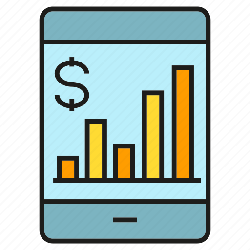 bank, finance, graph, mobile, money, payment, smart phone icon