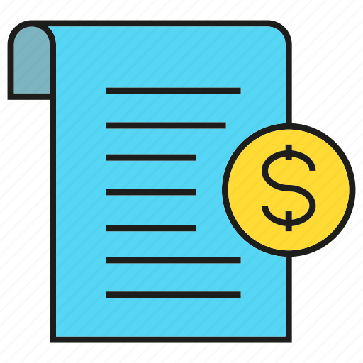 check, cheque, document, dollar, paper, receipt icon