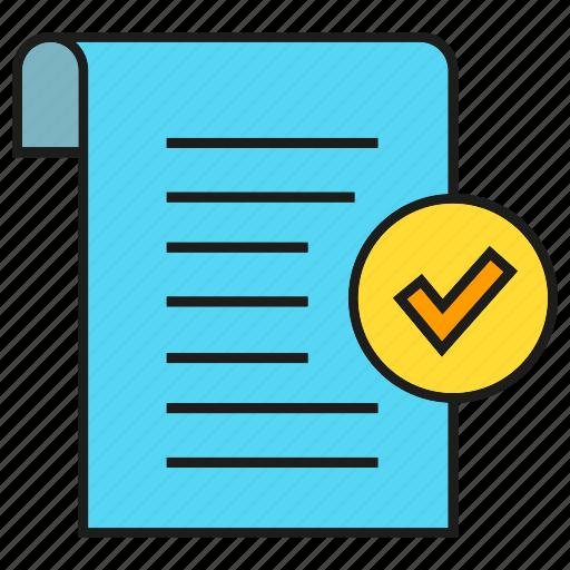document, paper, receipt, security, tick icon