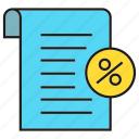 check, discount, document, paper, percentage, receipt icon