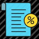 check, discount, document, paper, percentage, receipt
