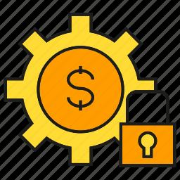 finance, key, lock, money, security icon