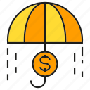 money, rain, risk, umbrella icon