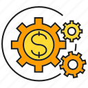 cog, dollar, finance, gear, money, rotate icon