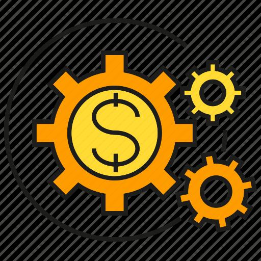 cog, dollar, finance, gear, money, rotate icon