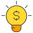 bulb, creative, finance, idea, light, money icon