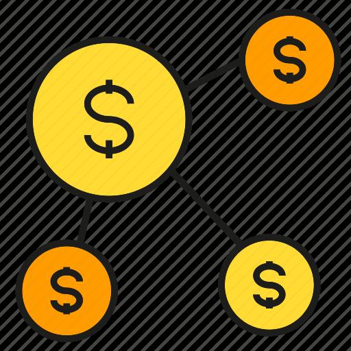 coin, dollar, money, network icon