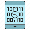bank, binary, finance, mobile, money, payment, smart phone icon