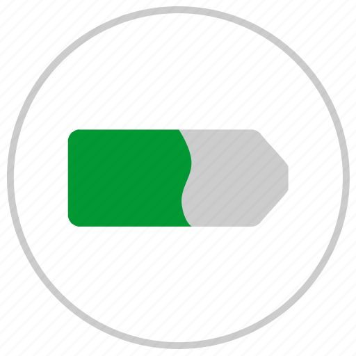 battery, charge, label, mobile, round icon