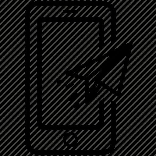 document, mobile, plane, send icon