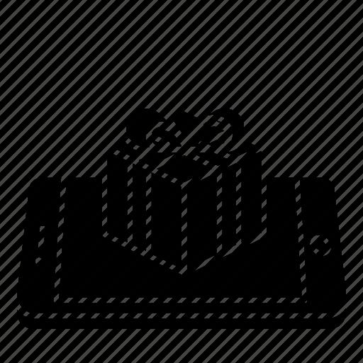 concept, gift, mobile, present, surprise icon
