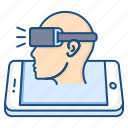 concept, conceptualization, man, oculus, sideview, virtual reality, vr icon