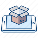 box, concept, logistic, mobile, open, package, smartphone