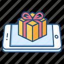device, gift, mobile, present, smartphone, surprise, wish icon