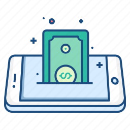 concept, currency, dollar, mobile, money, note, payment icon