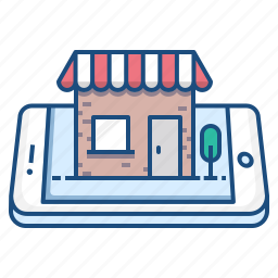 concept, mobile, shop, shopping, store, tree icon