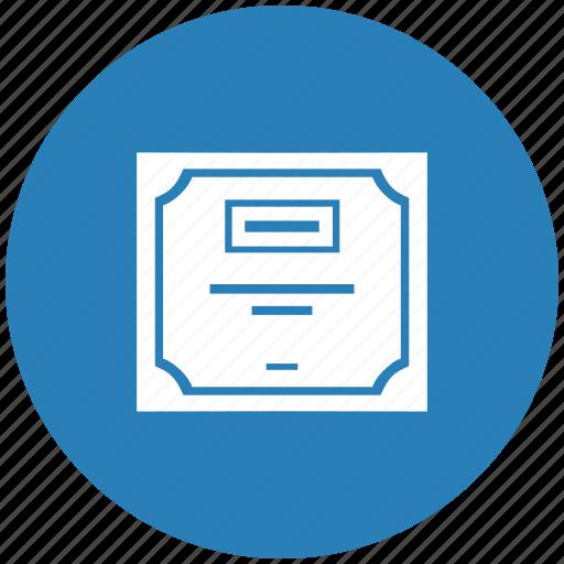 diploma, doc, document, license, round icon