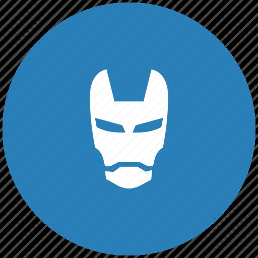comix, face, iron, man, mask, round icon