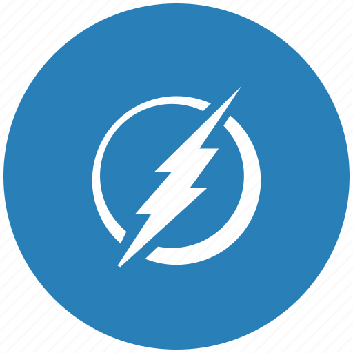 electric, electricity, round, shock icon