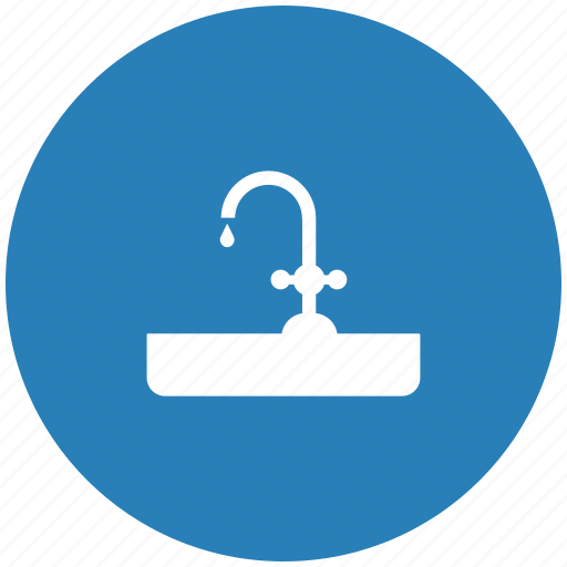 dishes, drop, round, tap, washing, water icon