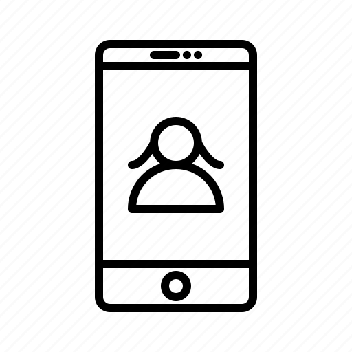 communication, functions, girl, mobile, profile, user icon
