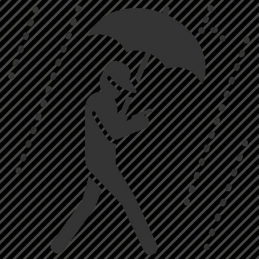 caution, hazards, mobile addict, rain, umbrella icon