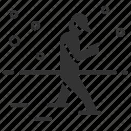 caution, hazards, mobile addict, snow, walk icon