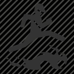 caution, fire, flame, hazards, jump, run, trainer icon