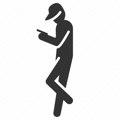 addict, caution, game, mobile, play, stand icon