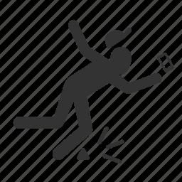 careless, caution, hazards, mobile addict, stumble icon