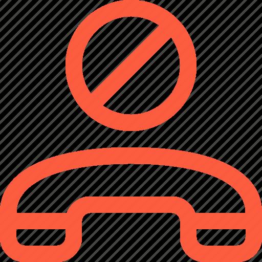 ban, blacklist, block, handset, hang, mobile, phone icon